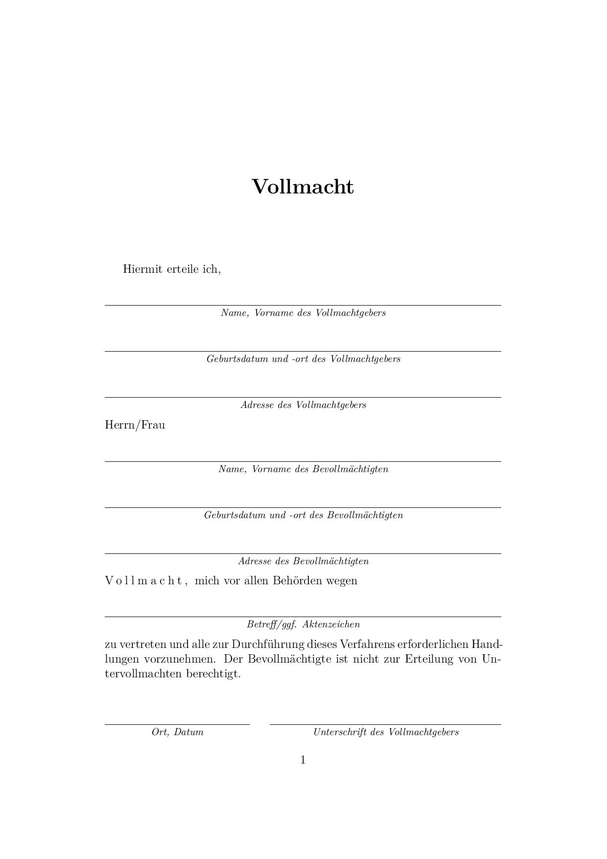 Muster Vollmacht Page 001